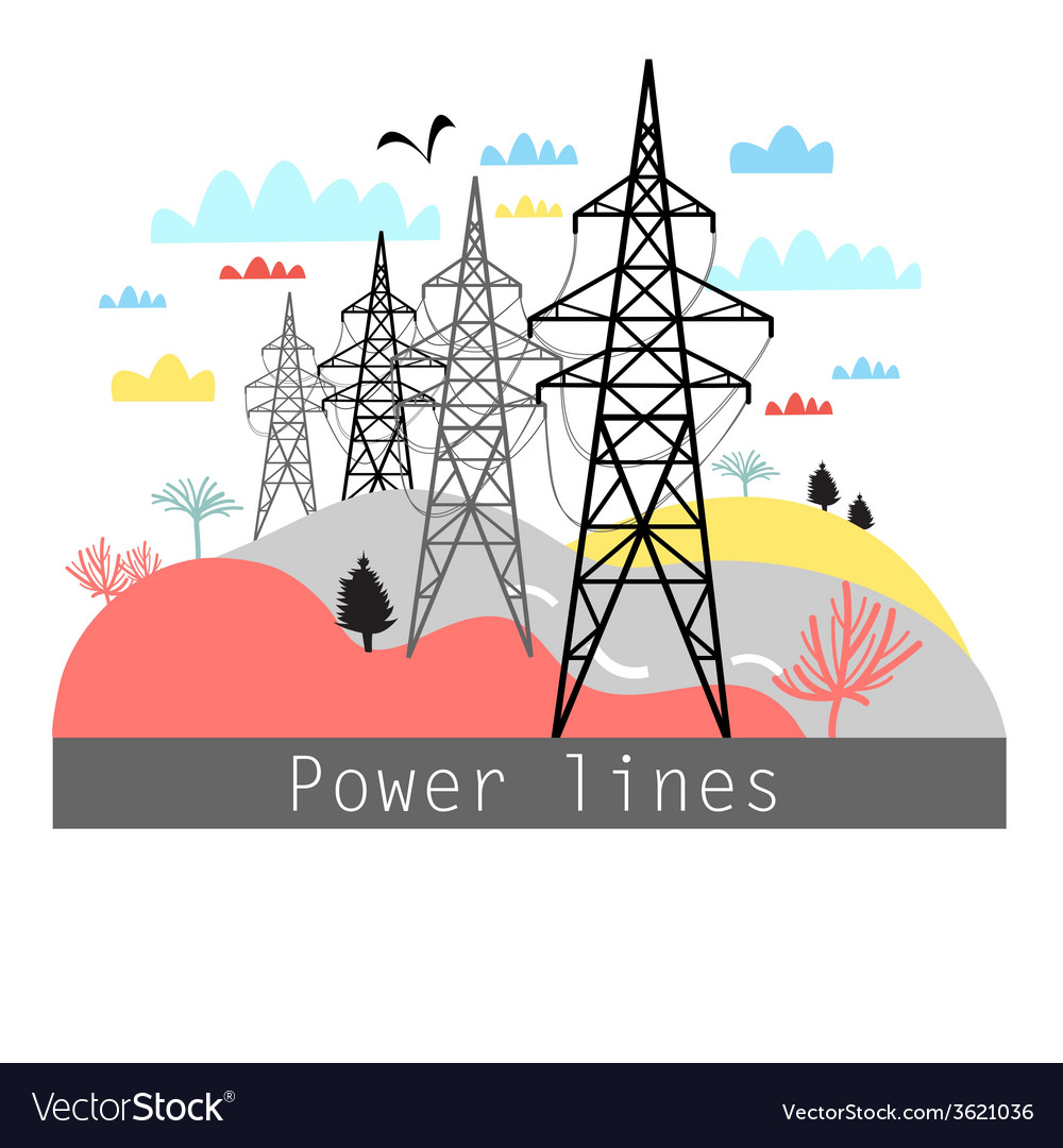 Towers with power lines vector | Price: 1 Credit (USD $1)
