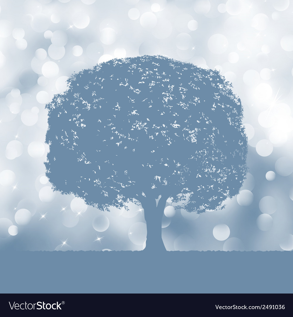 Tree silhouette blue and white landscape eps 8 vector | Price: 1 Credit (USD $1)