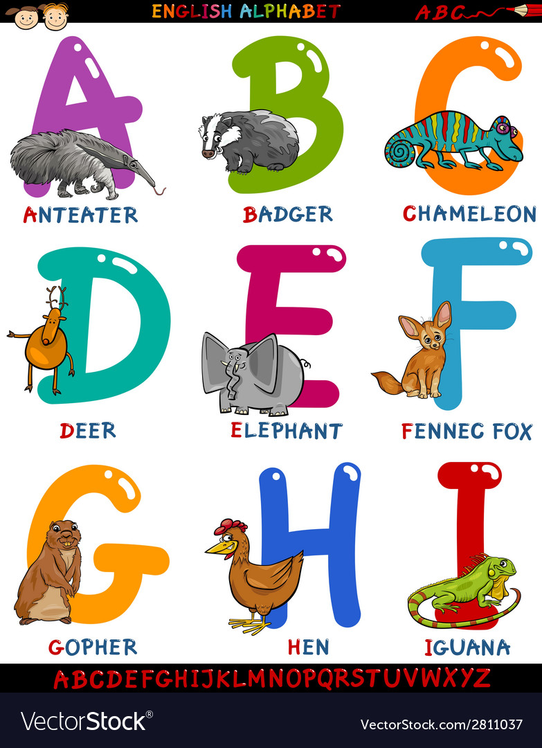 Cartoon english alphabet with animals vector | Price: 1 Credit (USD $1)