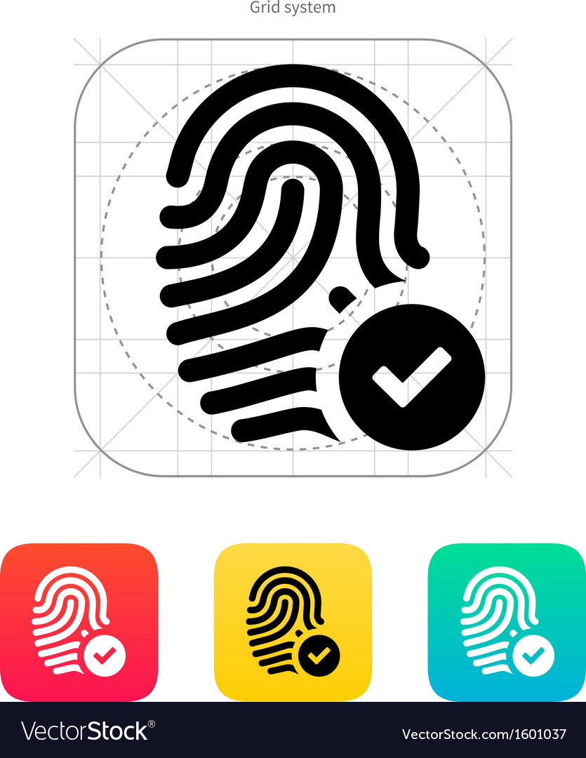 Fingerprint accepted icon vector | Price: 1 Credit (USD $1)
