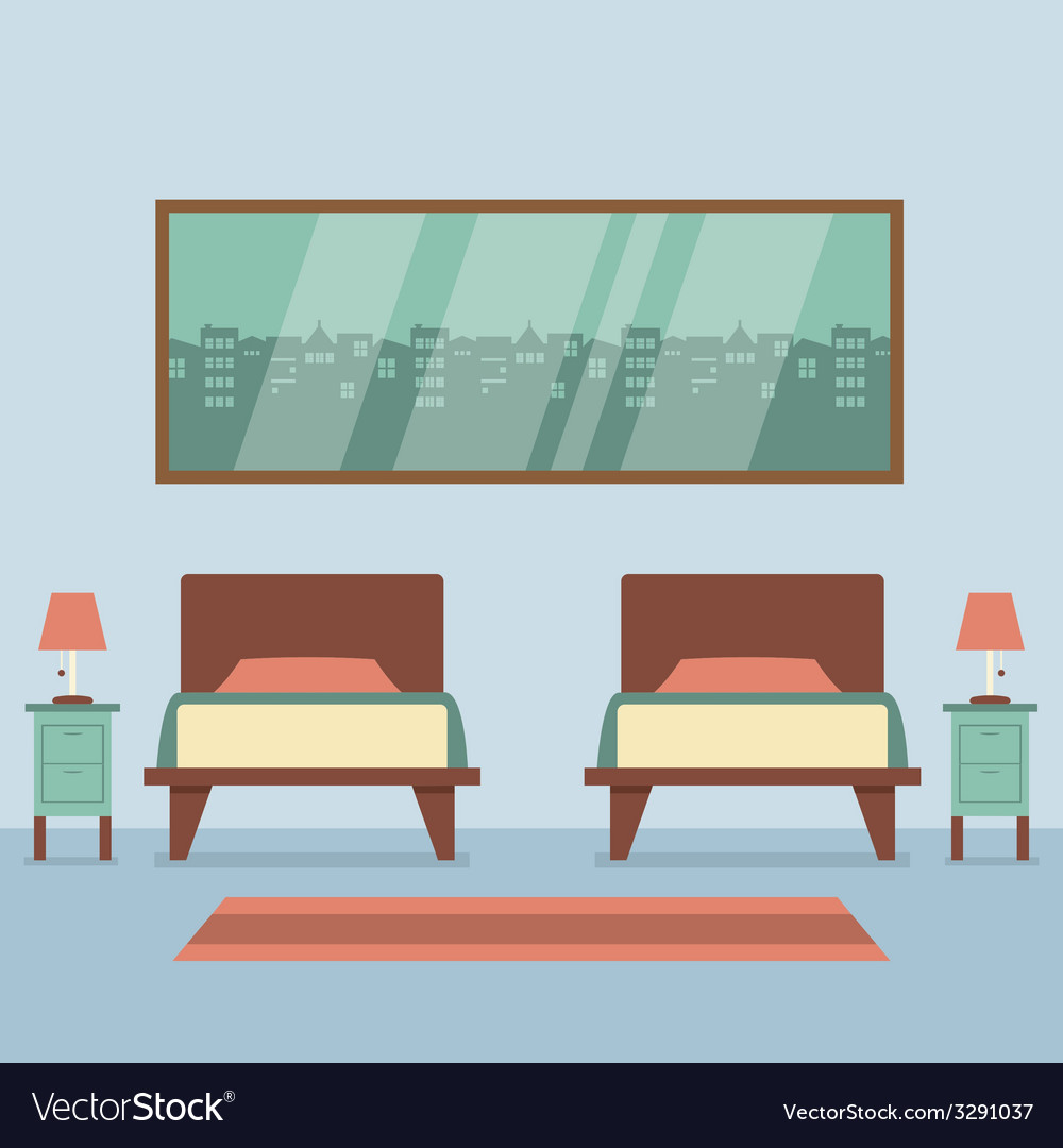 Flat design twin beds interior vector