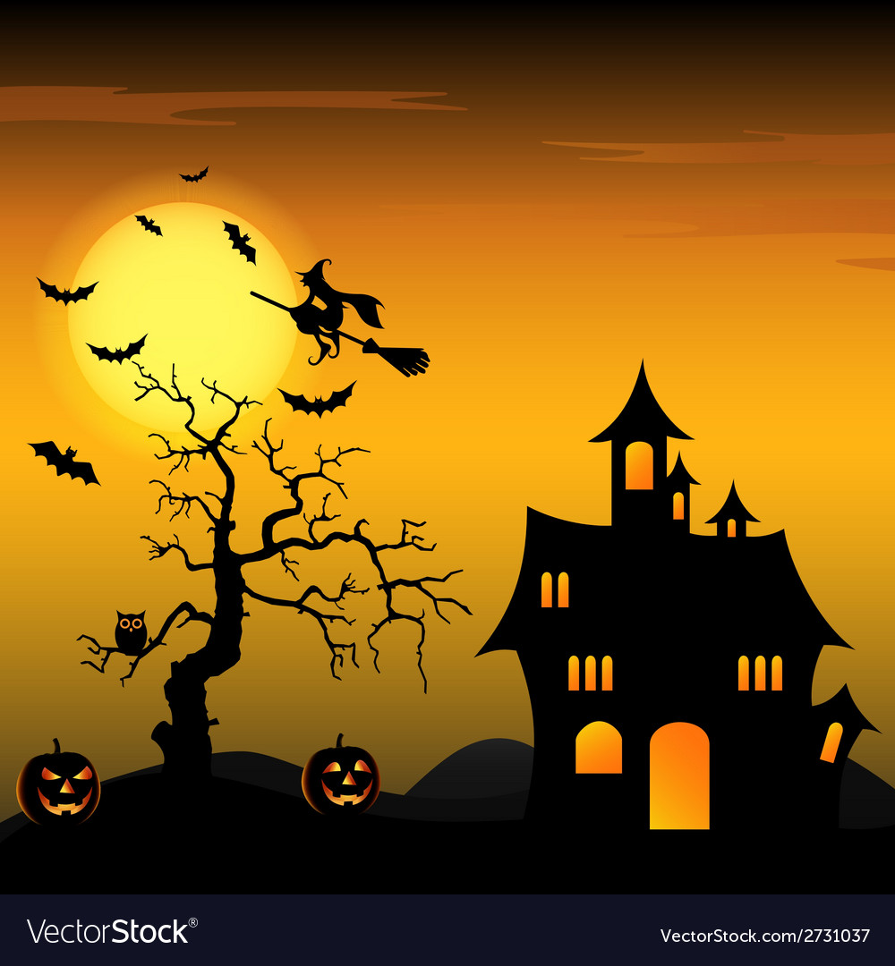 Halloween night background with witch and pumpkins vector | Price: 1 Credit (USD $1)