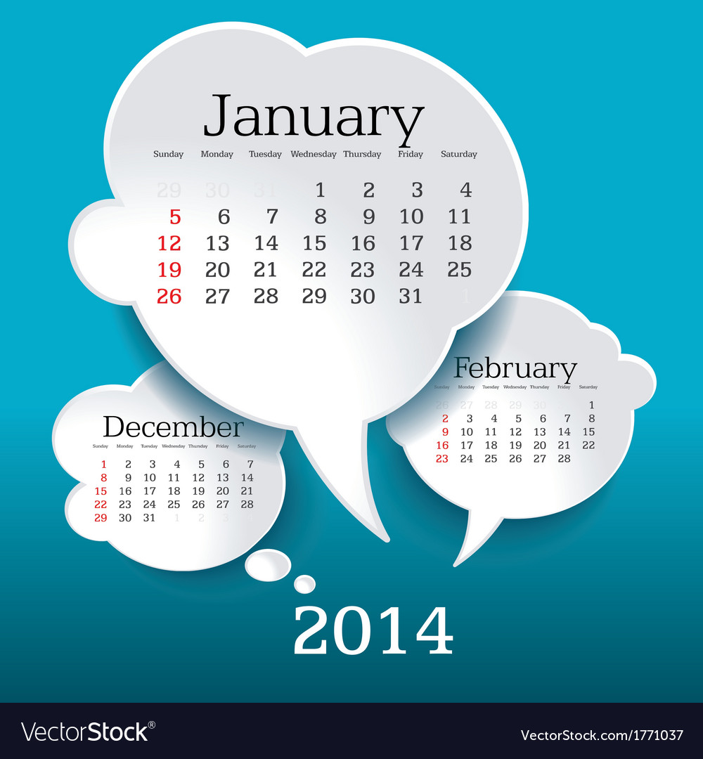 January 2014 bubble speech calendar vector | Price: 1 Credit (USD $1)