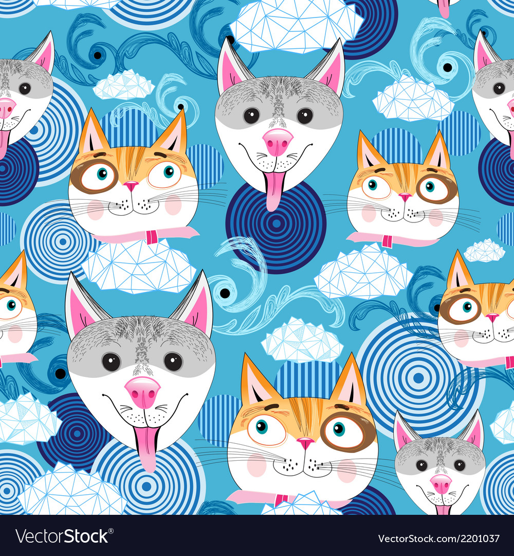 Pattern funny portraits of dogs and cats vector | Price: 1 Credit (USD $1)