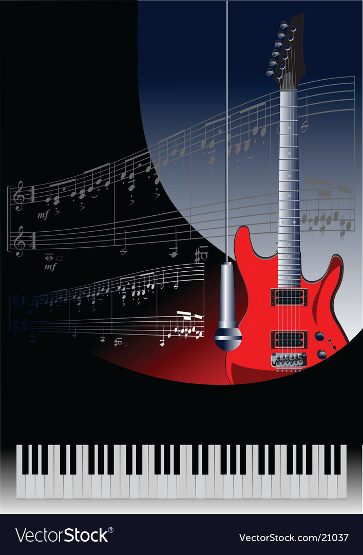 Piano with guitar vector | Price: 1 Credit (USD $1)