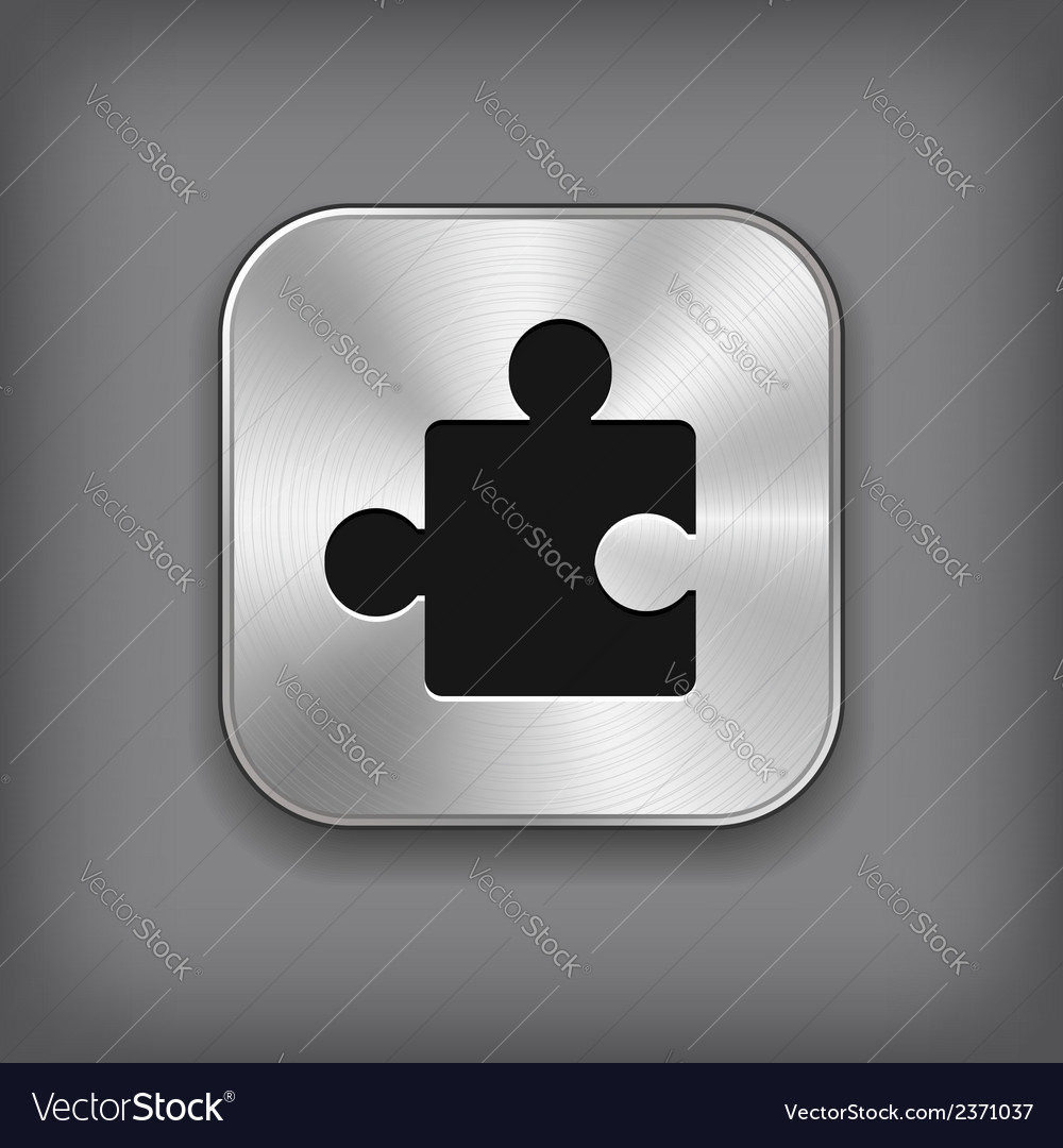 Puzzle icon - metal app button vector | Price: 1 Credit (USD $1)