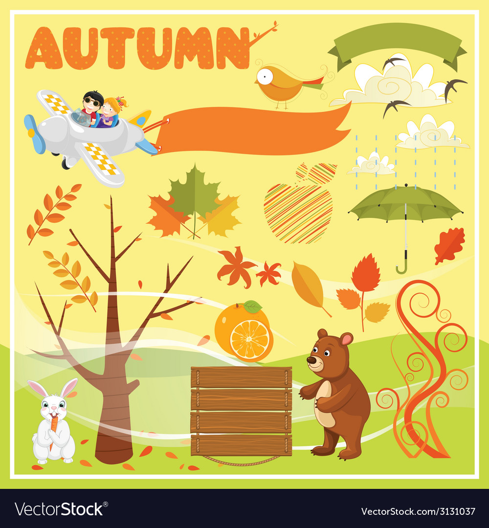 Set of autumn elements and vector | Price: 1 Credit (USD $1)