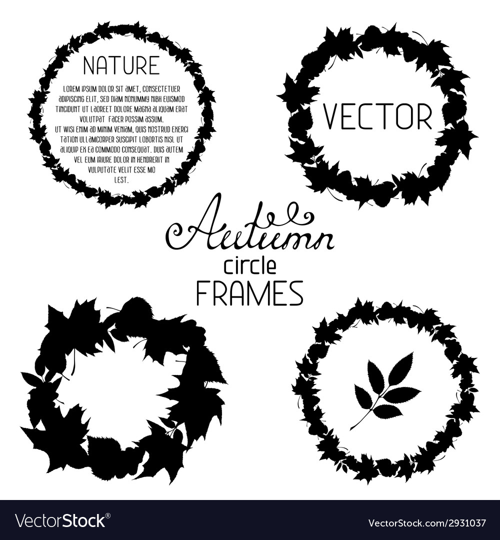 Set of black frames of leaves on white background vector | Price: 1 Credit (USD $1)