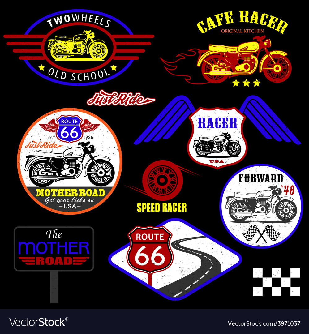 Set of vintage motorcycle badges vector | Price: 1 Credit (USD $1)