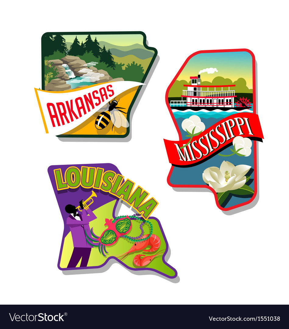 Arkansas mississippi louisiana luggage stickers vector