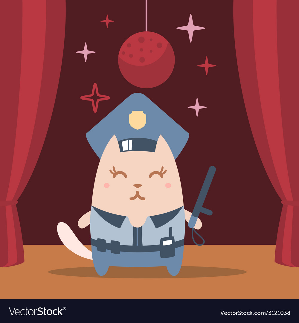 Character police in officers cap and in the form vector | Price: 1 Credit (USD $1)