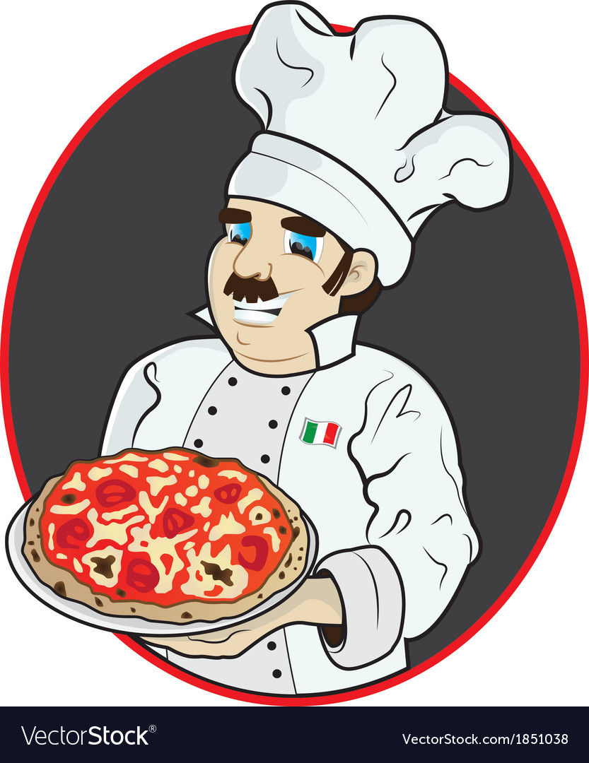 Chef with pizza vector | Price: 5 Credit (USD $5)