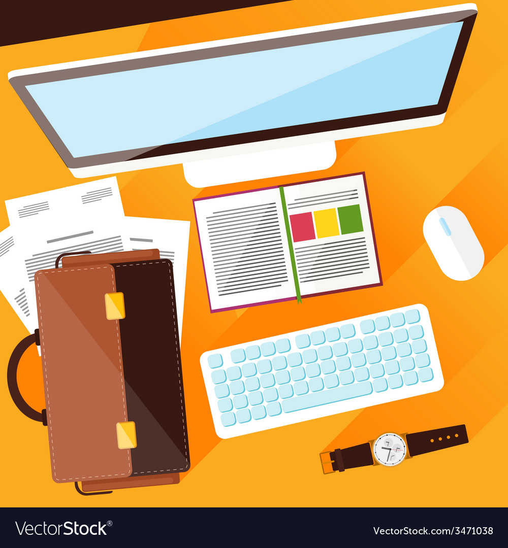 Creative office workplace vector | Price: 1 Credit (USD $1)