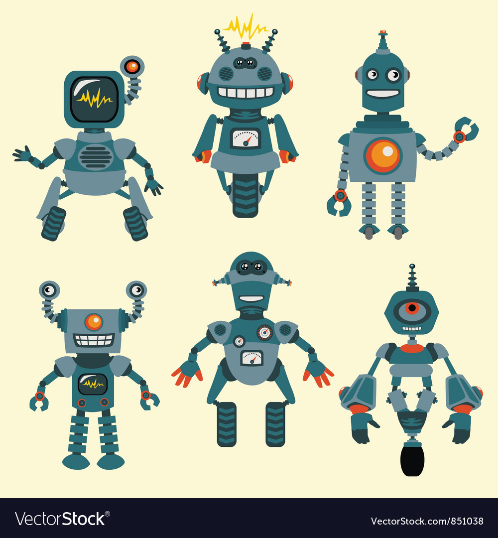 Cute little robots collection vector | Price: 1 Credit (USD $1)