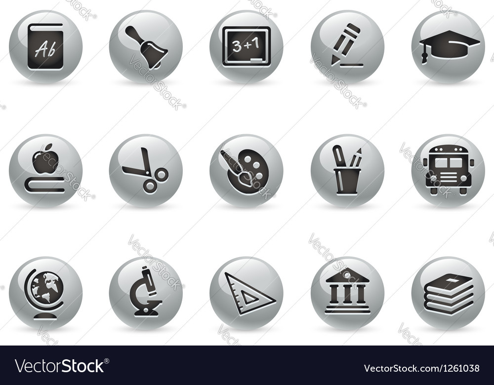 Education icons metalround series vector | Price: 1 Credit (USD $1)