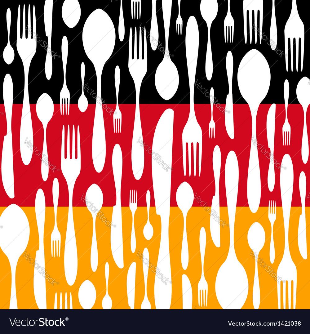 German cuisine cutlery pattern on the country flag vector | Price: 1 Credit (USD $1)