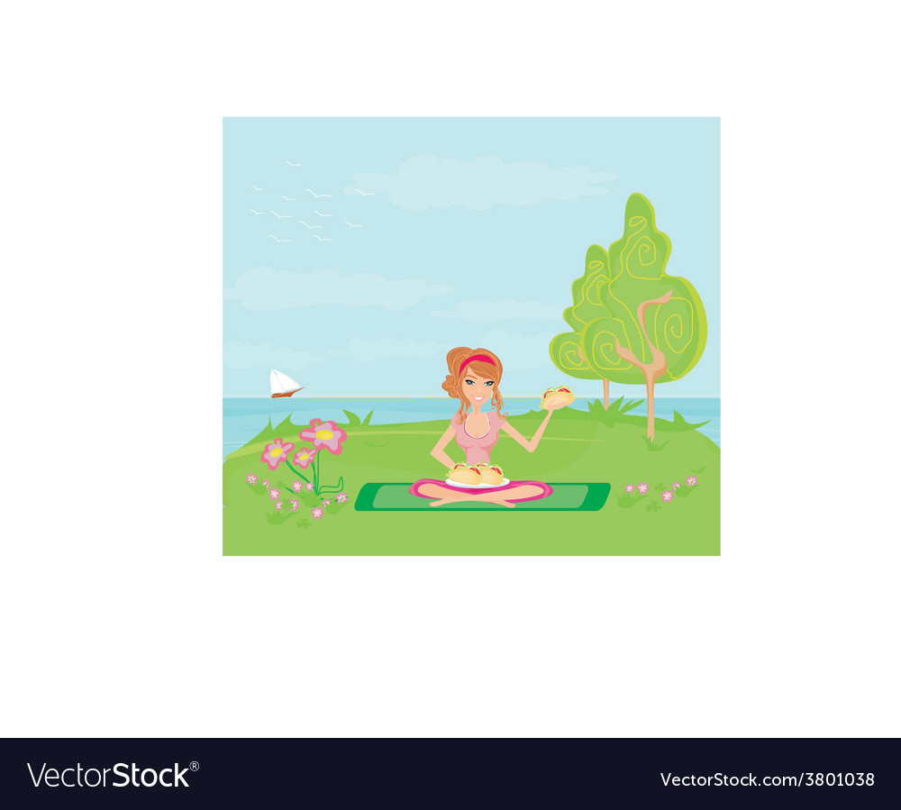 Girl on picnic and plate of sandwiches vector | Price: 1 Credit (USD $1)