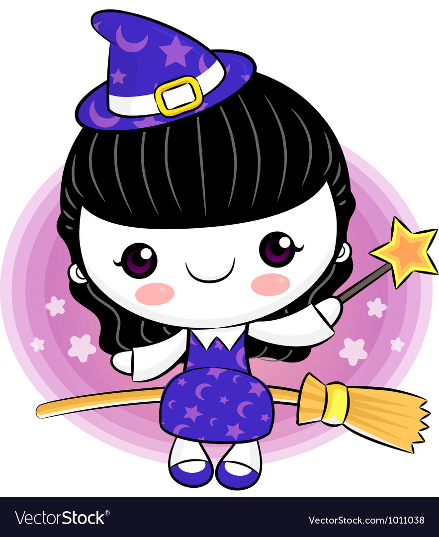 Little witch broomstick ride to travel vector | Price: 3 Credit (USD $3)