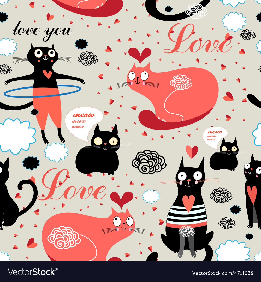 Pattern lovers cats vector | Price: 1 Credit (USD $1)