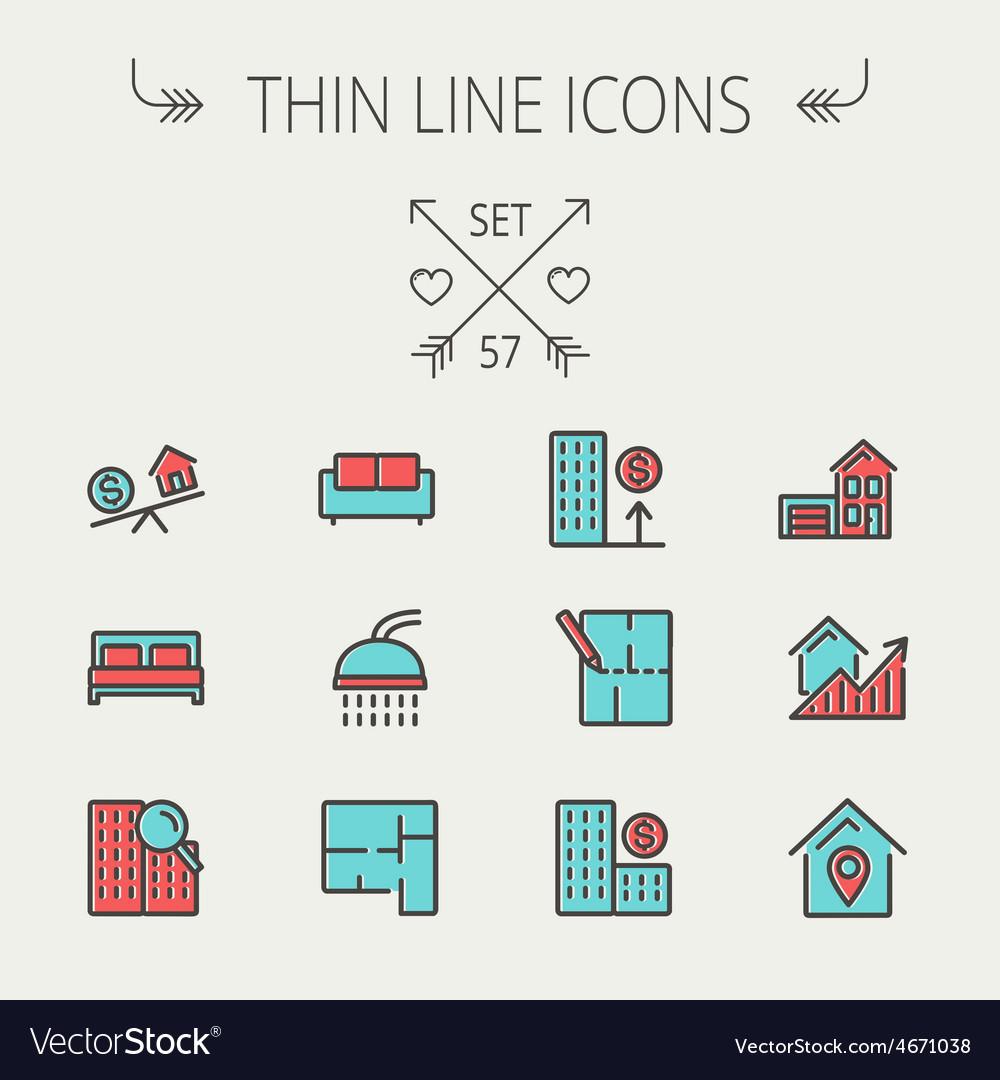 Real estate thin line icon set vector | Price: 1 Credit (USD $1)