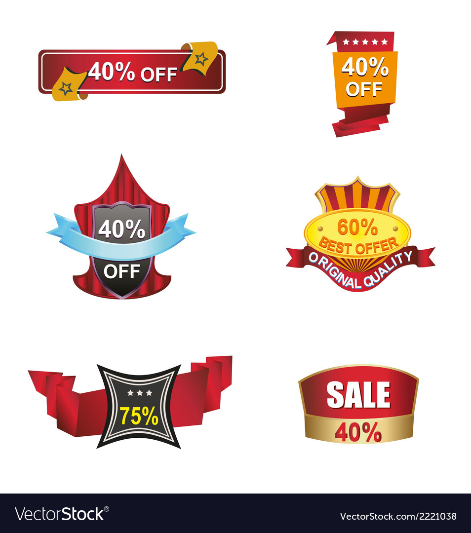 Sale banners labels discount tag coupon vector | Price: 1 Credit (USD $1)