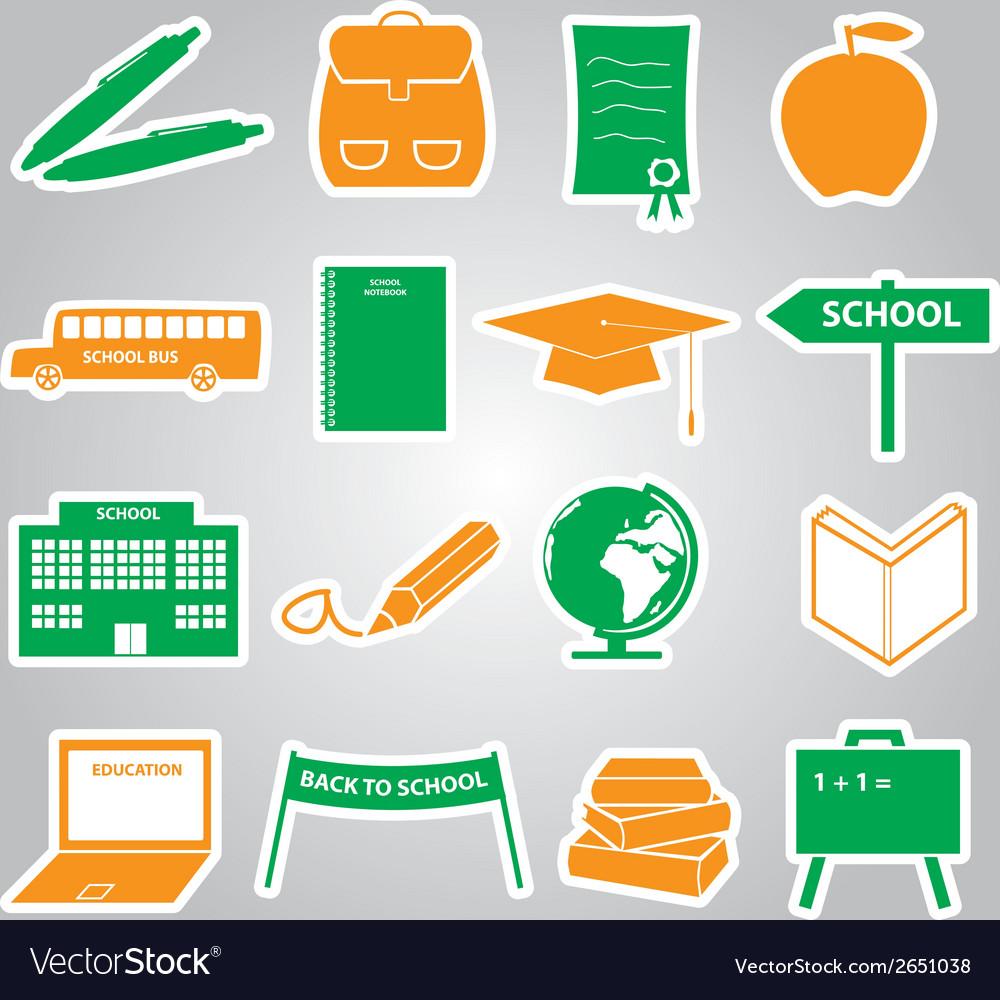 School stickers icon set eps10 vector | Price: 1 Credit (USD $1)
