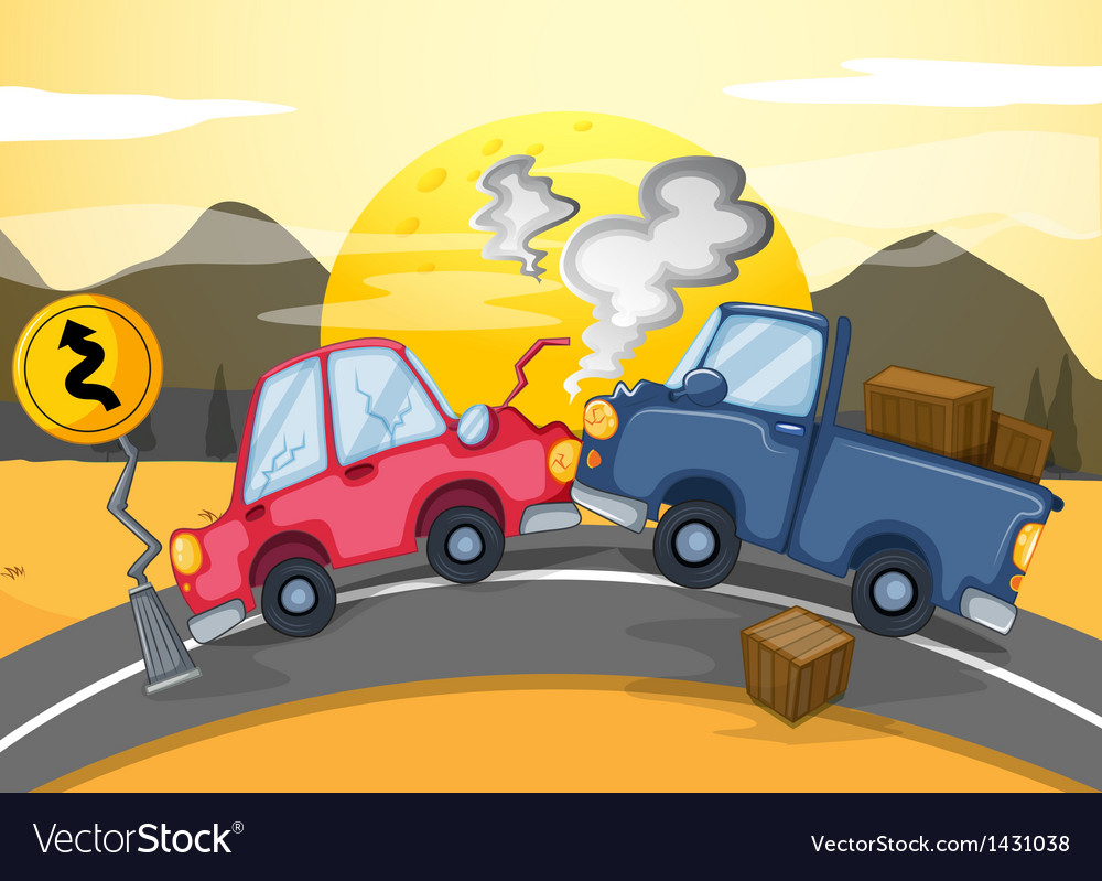 Two cars bumping in the middle of the road vector | Price: 1 Credit (USD $1)