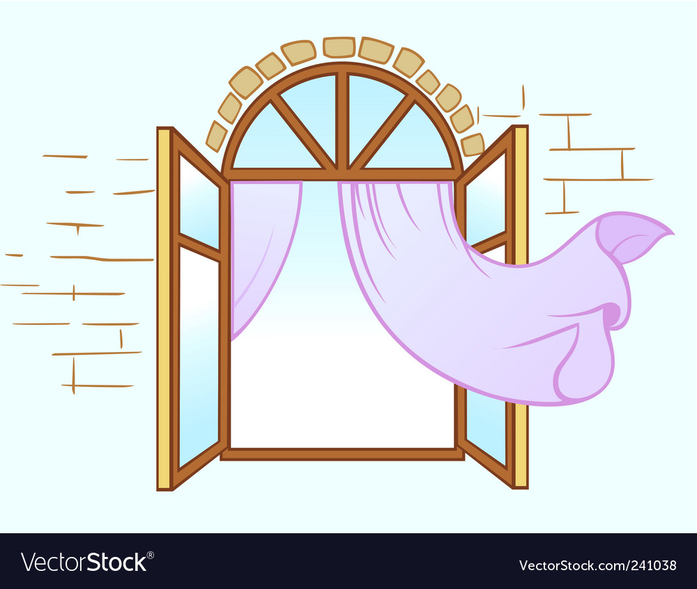Window with curtain vector | Price: 1 Credit (USD $1)
