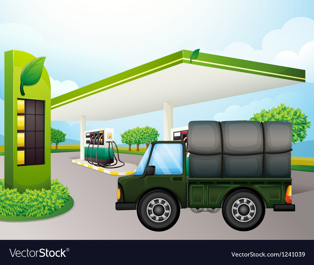 A truck near the gasoline station vector | Price: 1 Credit (USD $1)