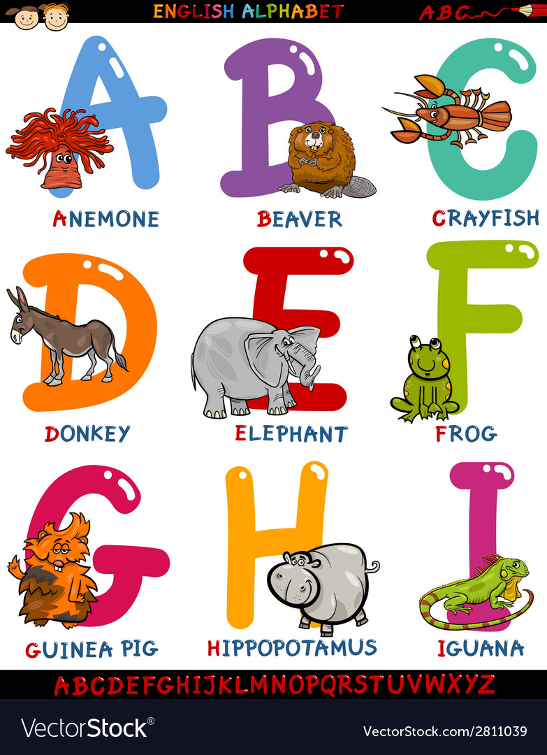 Cartoon english alphabet with animals vector | Price: 1 Credit (USD $1)