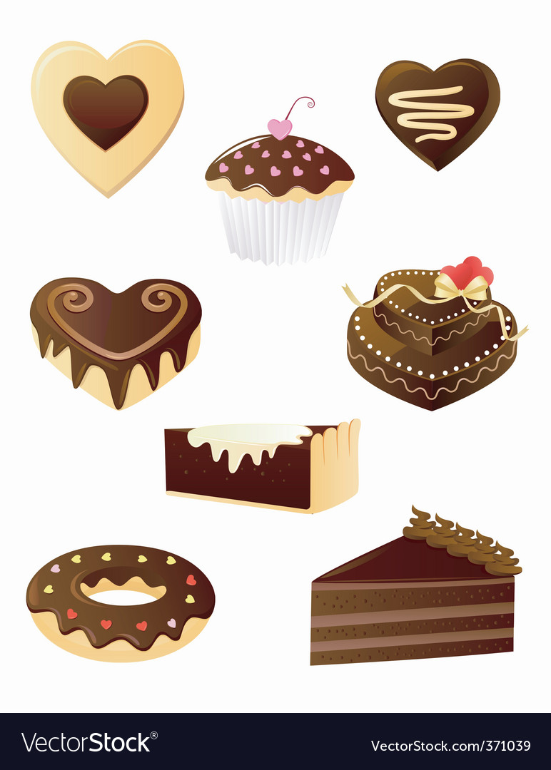 Chocolate dessert set vector | Price: 3 Credit (USD $3)