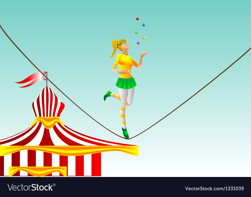 Circus girl on a rope vector | Price: 1 Credit (USD $1)