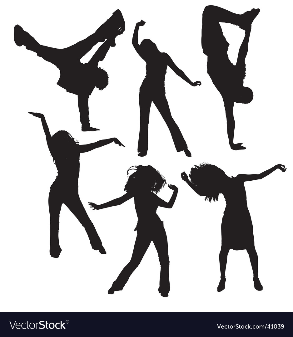 Dancing people silhouettes vector | Price: 1 Credit (USD $1)