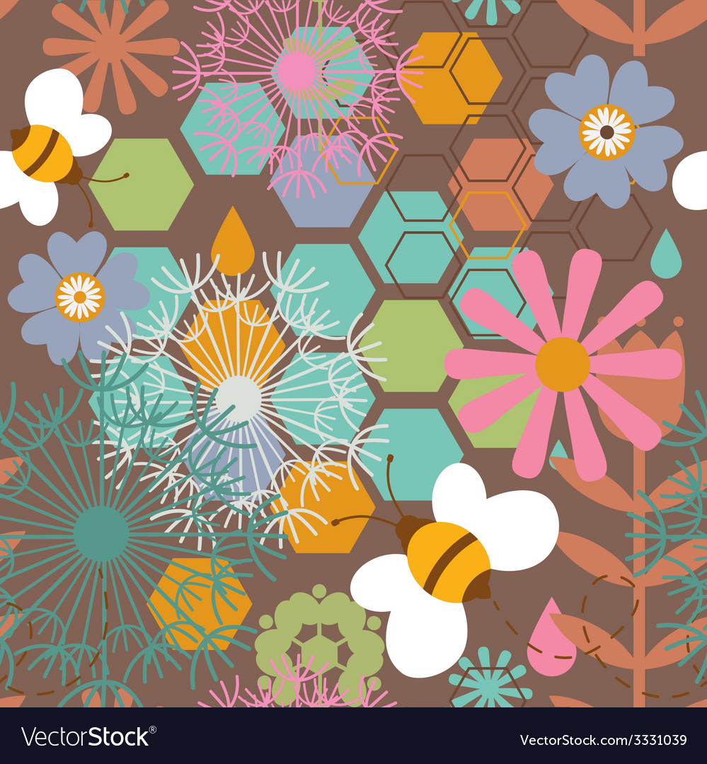 Floral seamless print with honey bees vector   Price: 1 Credit (USD $1)