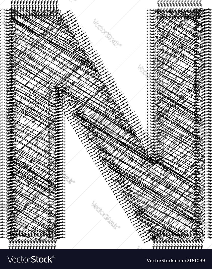 Font letter n vector | Price: 1 Credit (USD $1)