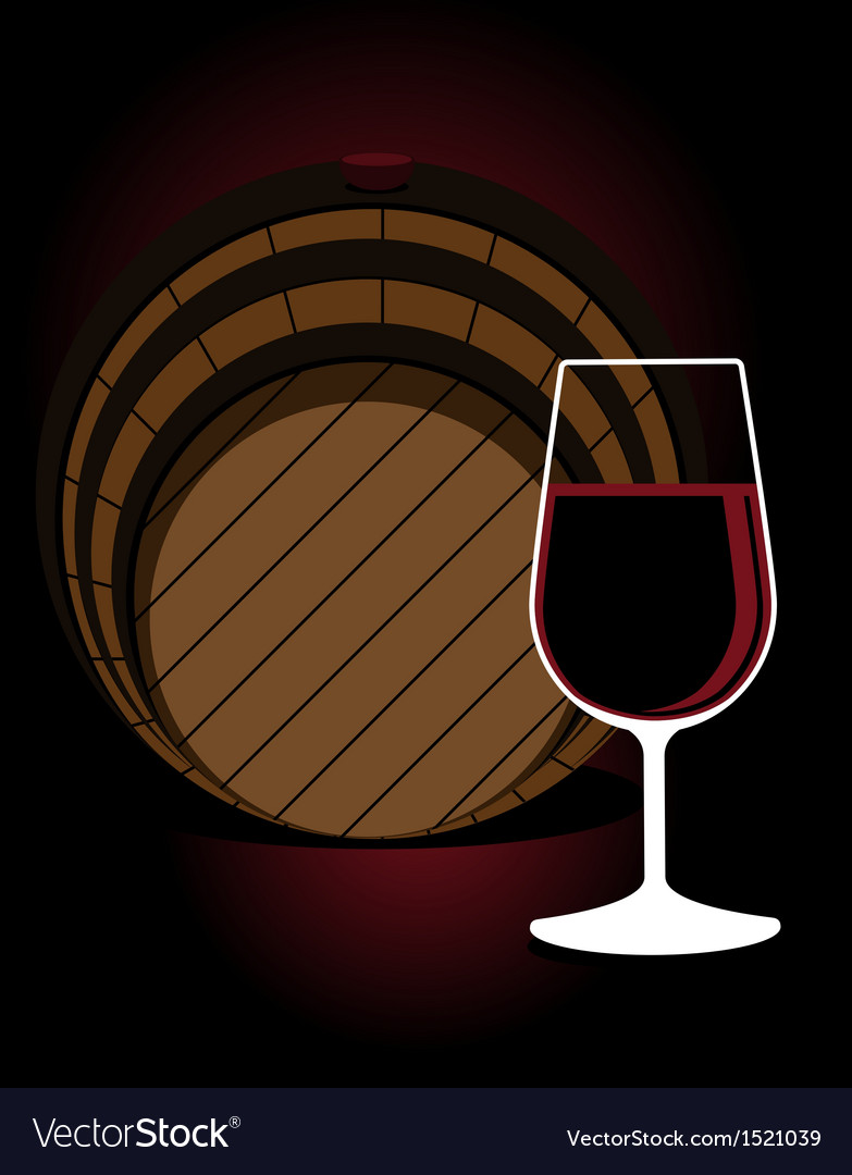 Glass or red wine with an oak cask vector | Price: 1 Credit (USD $1)