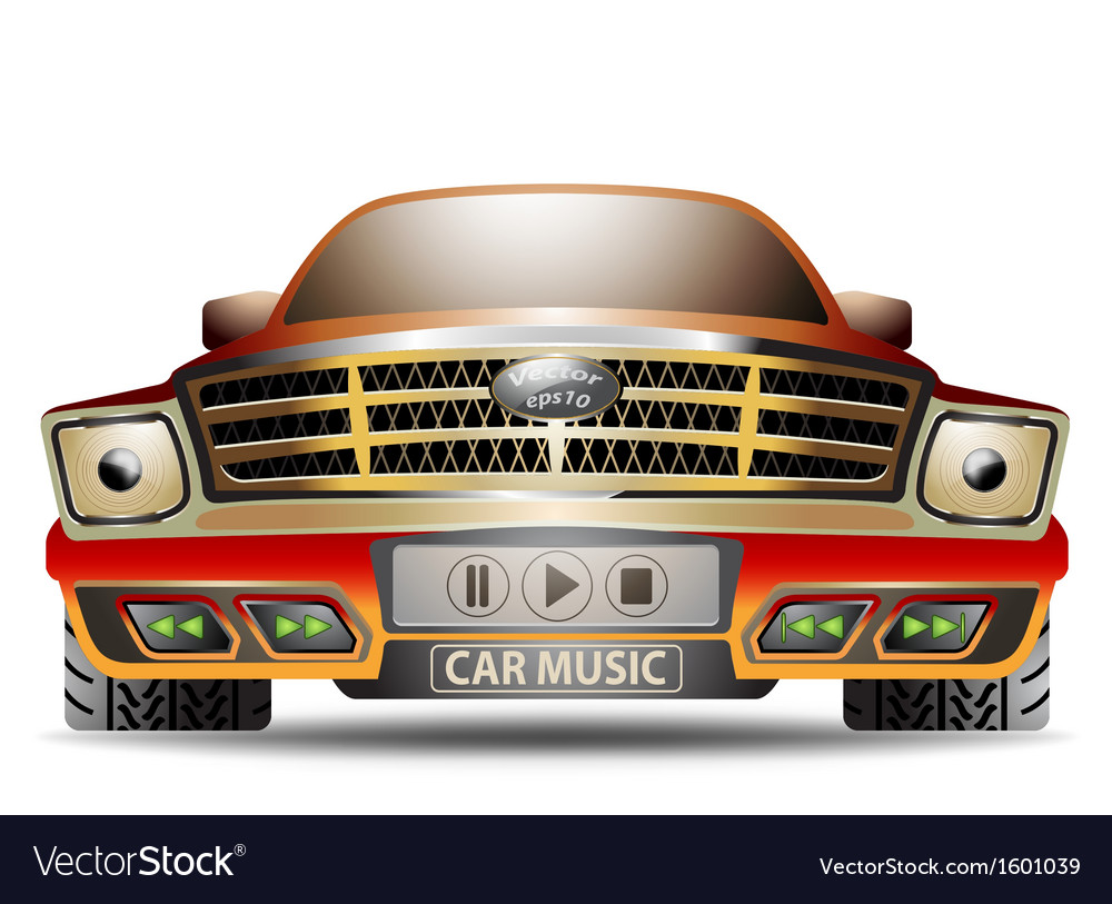Music car on a white background vector | Price: 1 Credit (USD $1)