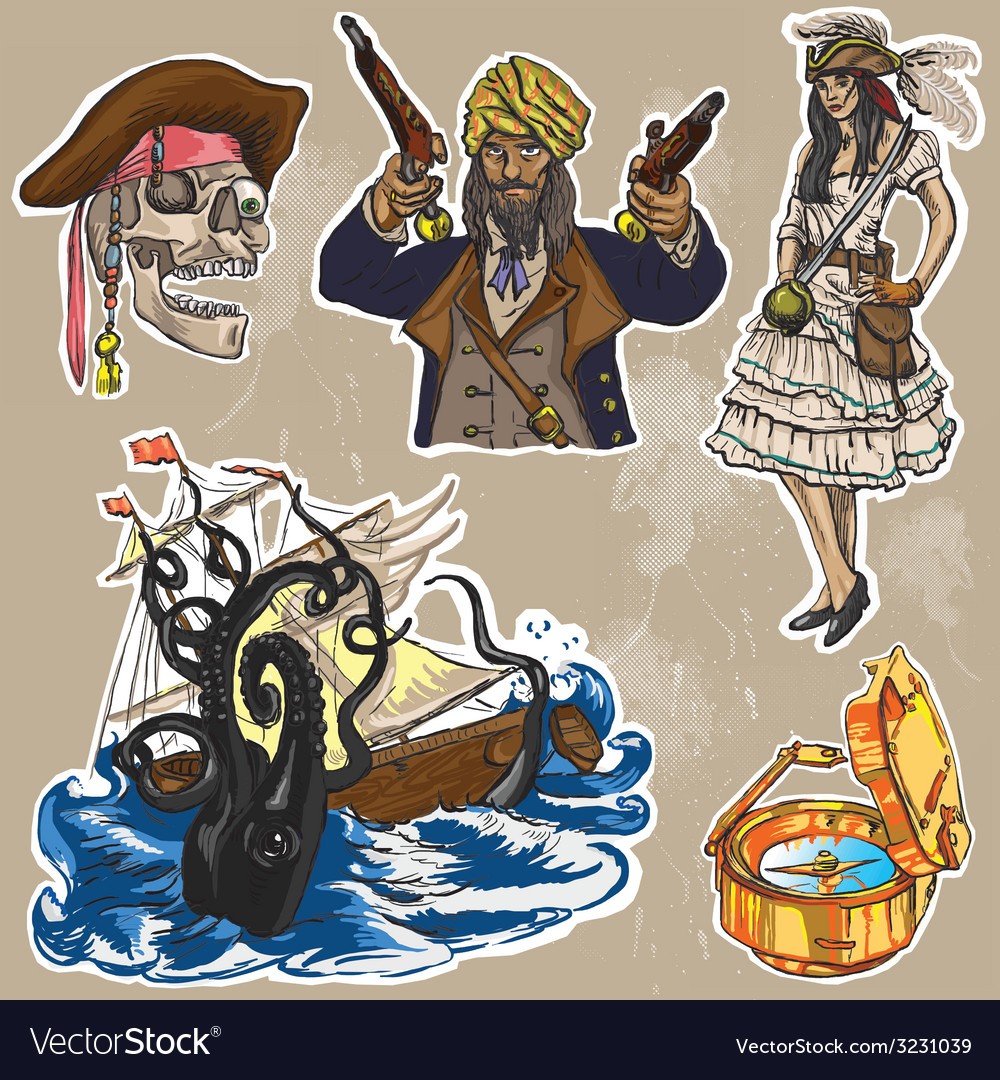 Pirates - an hand drawn colored pack no2 vector | Price: 1 Credit (USD $1)