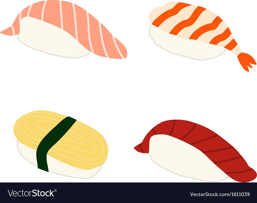 Salmon shrimp sweet omlette tuna sushi vector   Price: 1 Credit (USD $1)
