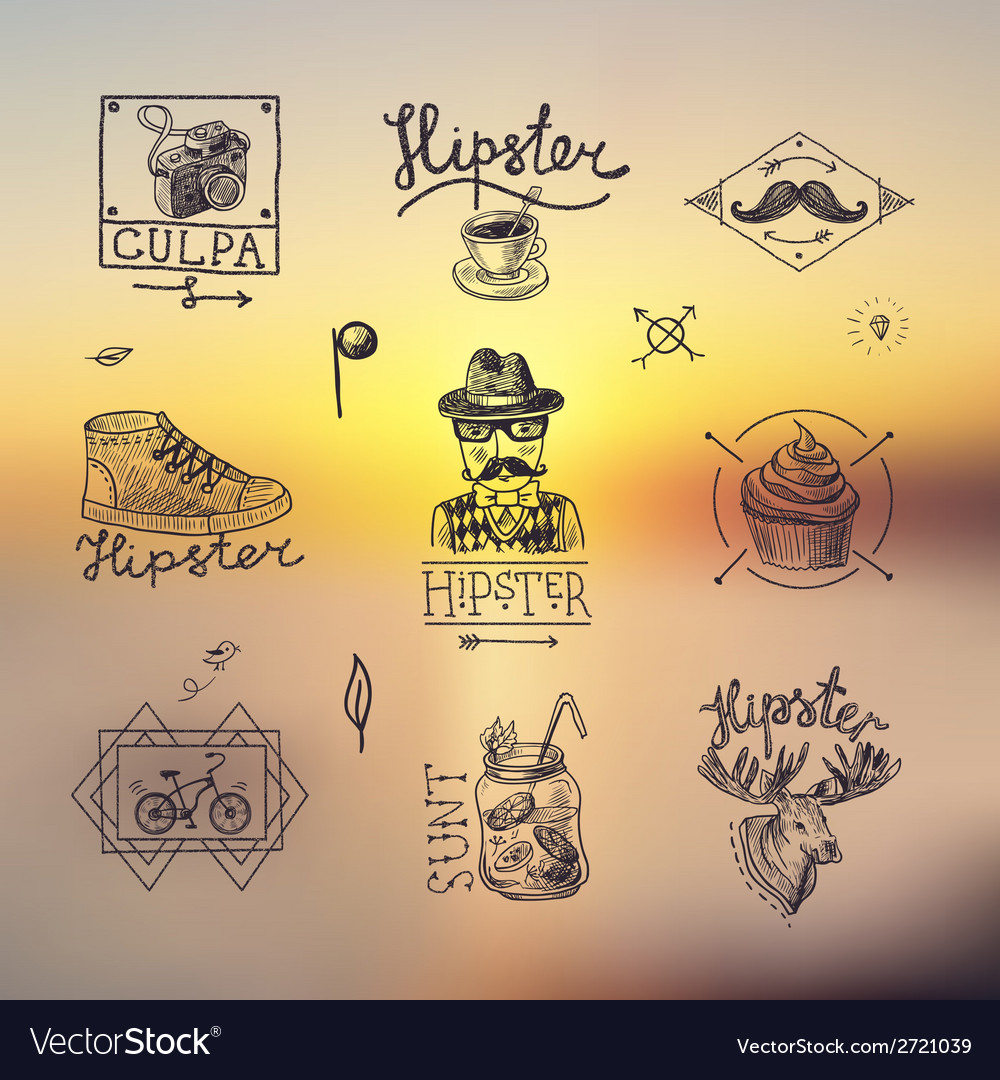 Set of hipster emblems vector | Price: 1 Credit (USD $1)
