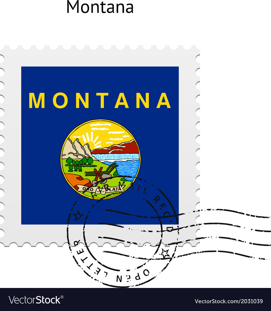 State of montana flag postage stamp vector | Price: 1 Credit (USD $1)
