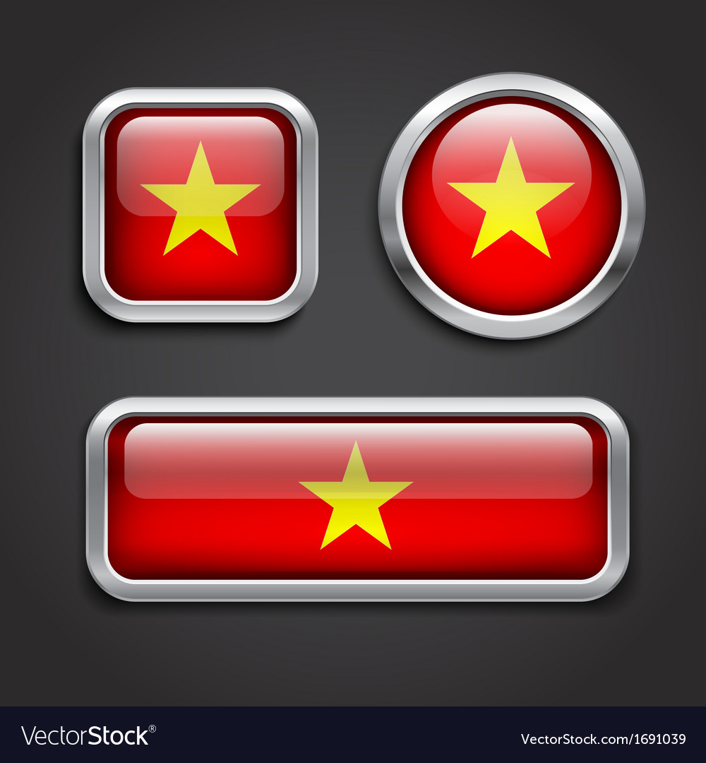 Vietnam flag glass buttons vector | Price: 1 Credit (USD $1)