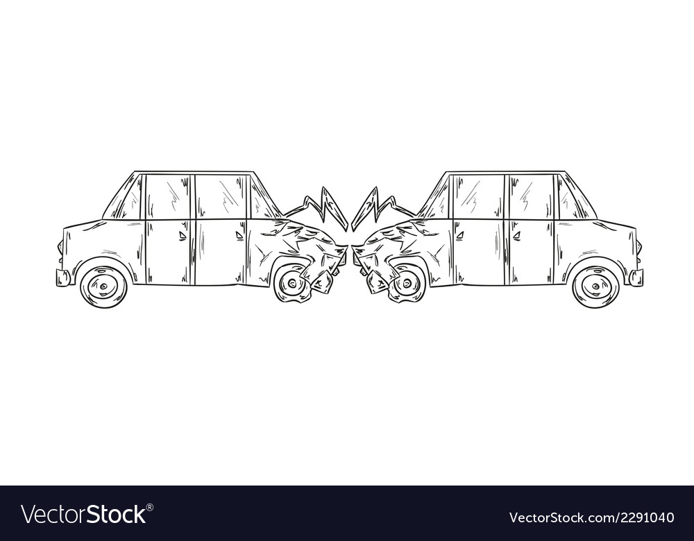 Accident of two cars sketch vector | Price: 1 Credit (USD $1)