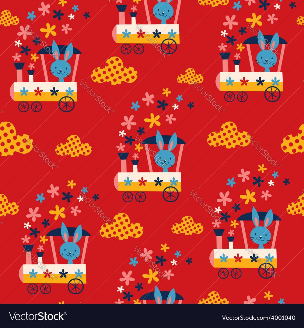 Bunny train kids seamless pattern vector | Price: 1 Credit (USD $1)