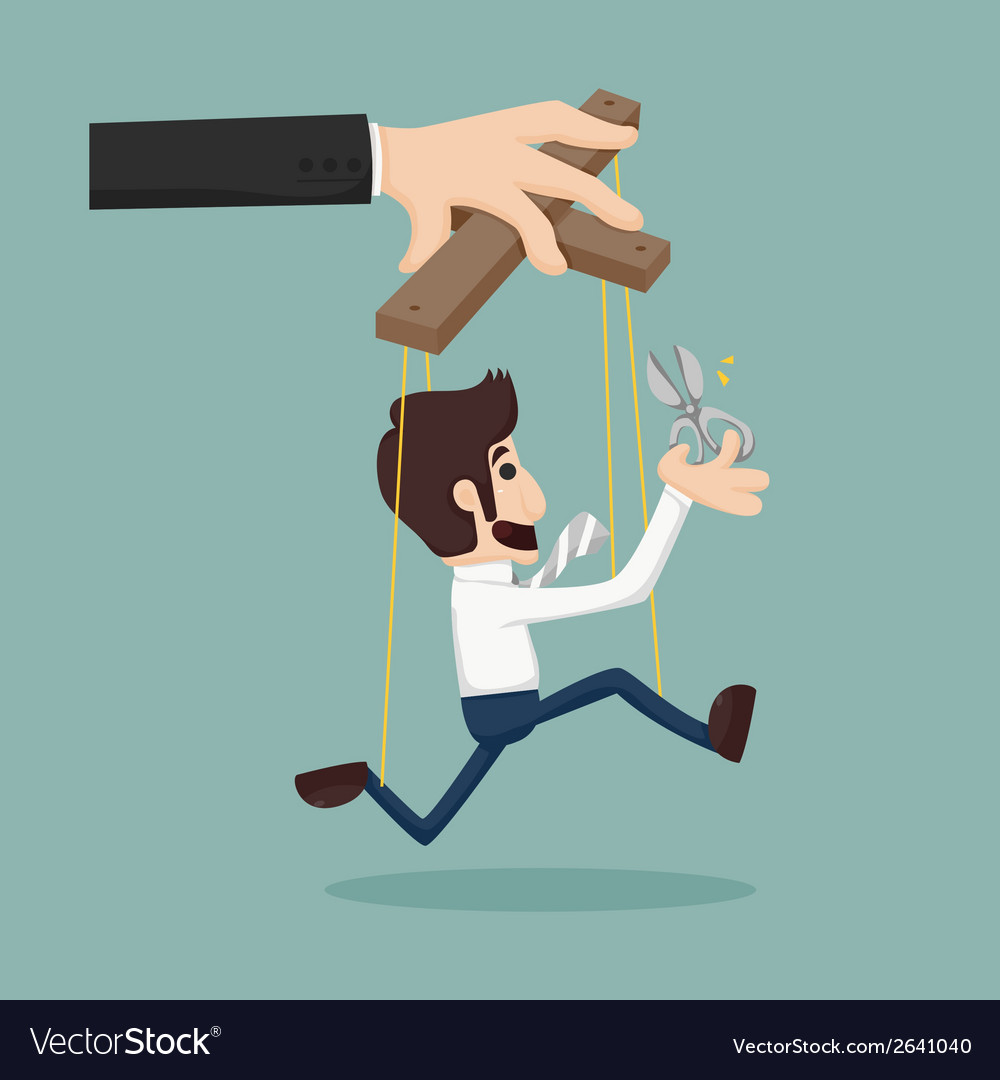 Cutting the strings of a business man puppet givin vector | Price: 1 Credit (USD $1)