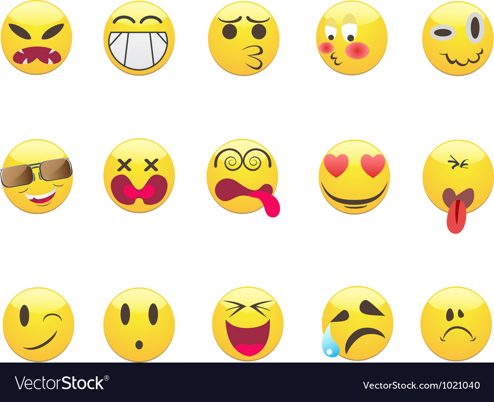 Emoticons set vector | Price: 1 Credit (USD $1)