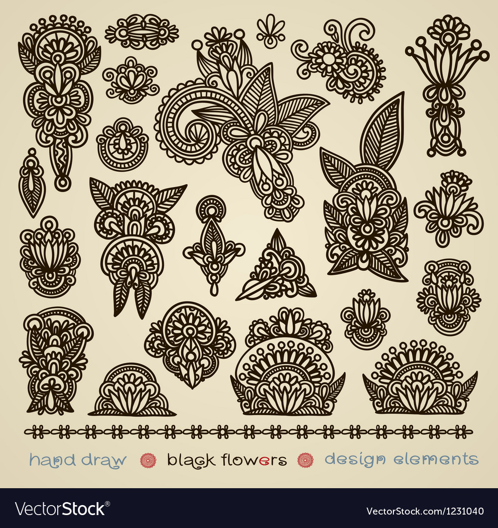 Hand draw black flower design element vector | Price: 1 Credit (USD $1)