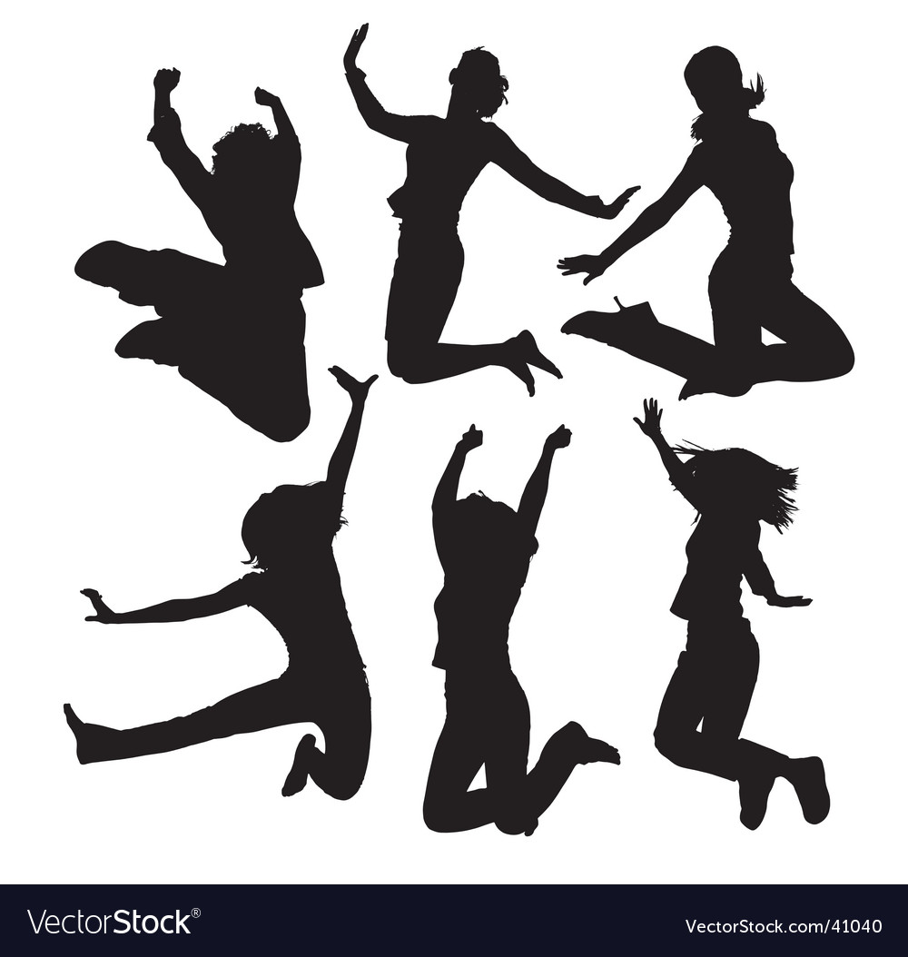 Jumping people silhouettes vector | Price: 1 Credit (USD $1)