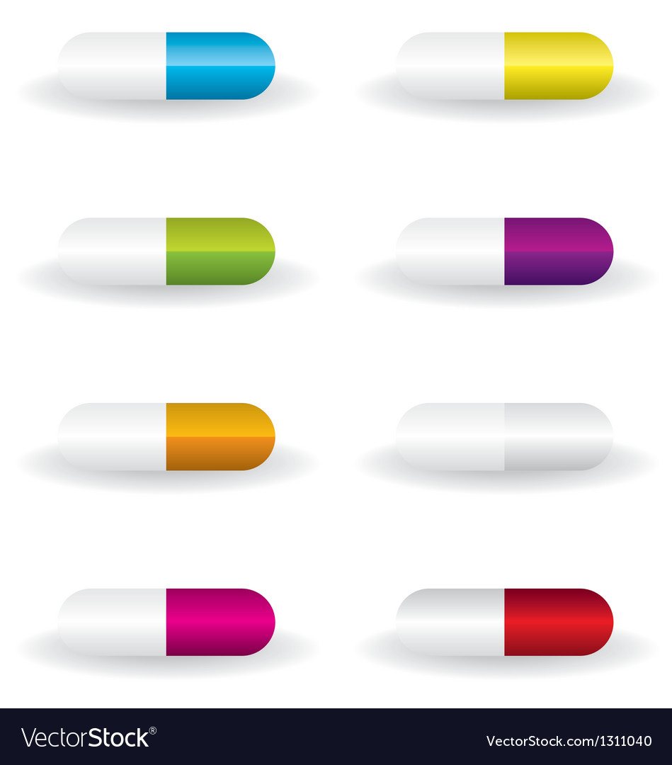 Pills different color vector | Price: 1 Credit (USD $1)