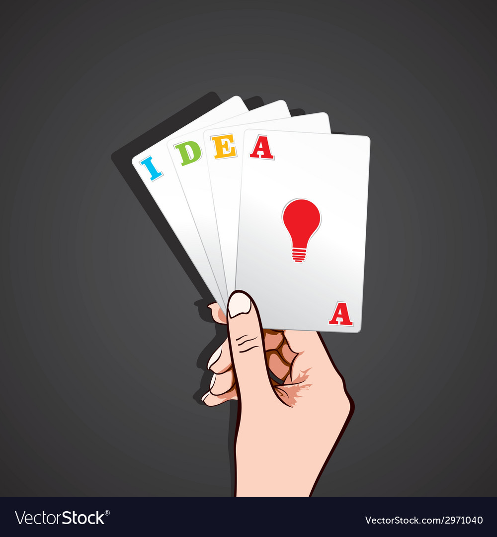 Playing card in hand with idea concept vector | Price: 1 Credit (USD $1)